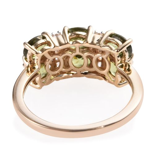 9K Yellow Gold Russian Demantoid Garnet (Ovl), Natural Cambodian Zircon Ring 3.00 Ct.