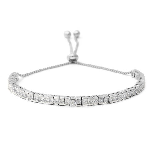 ELANZA Simulated Diamond Adjustable Bracelet in Rhodium Plated Silver 6.70 Grams 6.5 to 9 Inch