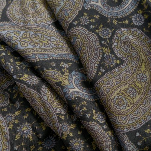 Multi Colour Paisley Pattern Olive Green and Black Colour Round Apparel