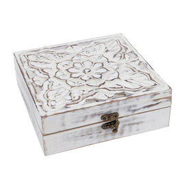 Mango Wood Antique Carving Work Jewellery Box (Size 15x14x14cm) - White
