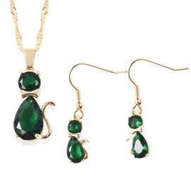 2 Piece Set - Simulated Emerald, Green Austrian Crystal Cat Pendant with Chain (Size 20 with 2 inch