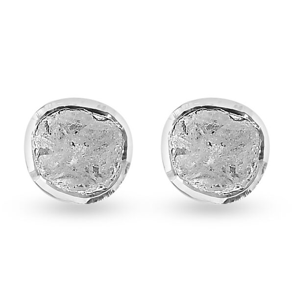 0.25 Ct Polki Diamond Solitaire Stud Earrings in Platinum Plated Sterling Silver