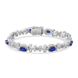 Blue Spinel ,  White Zircon  Bracelet (Size - 7) in Rhodium Overlay Sterling Silver 4.53 ct,  Sliver