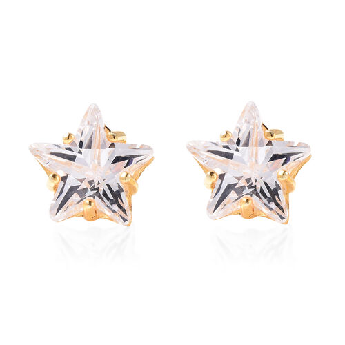 ELANZA Simulated Diamond Star Earrings (with Push Back)  in Yellow Gold Overlay Sterling Silver