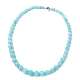 20 Inch Amazonite Beaded Necklace in Rhodium Plated Sterling Silver 5 Grams