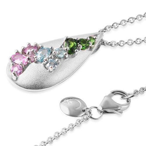 RACHEL GALLEY Sandblast Collection - Cambodian Blue Zircon, Madagascar Pink Sapphire and Russian Diopside Pendant With Chain (Size 20) in Rhodium Overlay Sterling Silver
