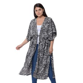 Designer Inspired- Black and Grey Colour Leopard Pattern Kimono (Size 116.8X96.5cm)