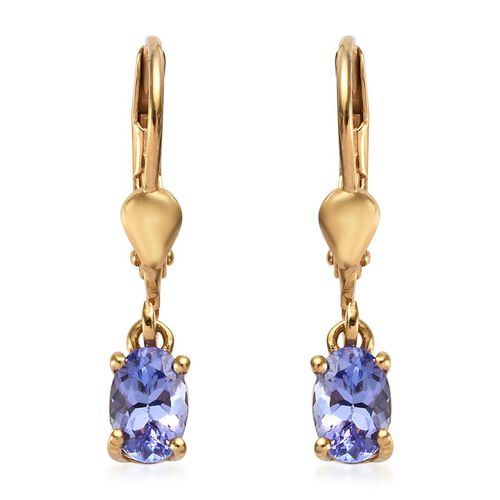 AA Tanzanite (Ovl) Lever Back Earrings in 14K Gold Overlay Sterling Silver 0.750  Ct.