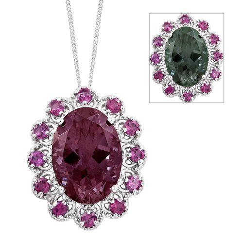 Colour Change Alexandrite Quartz (Ovl 13.55 Ct), Purple Garnet Pendant With Chain in Platinum Overla