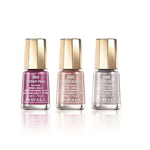 (Option 1) Mavala: Metallic Trio 1: Cyber Pink (994), Cyber Blush (995) & Cyber Silver (996)