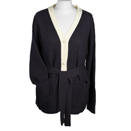 LA MAREY Knit Cardigan with Waist Belt - Black and Dark Plum