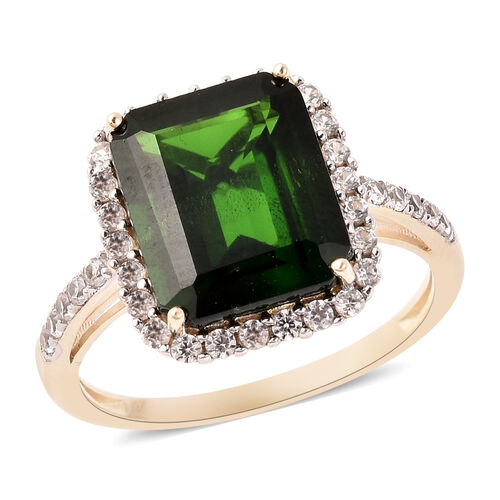 Russian Diopside and Cambodian Zircon Halo Ring in 9K Yellow Gold,6.86 Ct