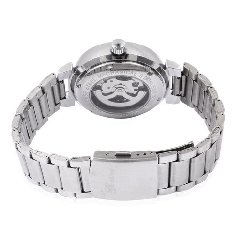 GENOA Automatic Machanical Movement White Dial Water Resistant Watch in Silver Tone with Stainless Steel Back