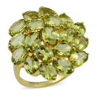 9.50 Ct Hebei Peridot Floral Cluster Ring (Size L) in Gold Plated Sterling Silver