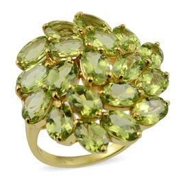 9.50 Ct Hebei Peridot Floral Cluster Ring in Gold Plated Sterling Silver