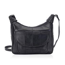 OTO -100% Genuine Leather Black Colour Shoulder Bag with Multi Pocket (Size 28.7x20.9x6 Cm)
