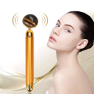 4-in-1 Tigers Eye Facial Roller - Gold Plated Interchangeable Heads (Incl. Tigers Eye, T-Shaped and