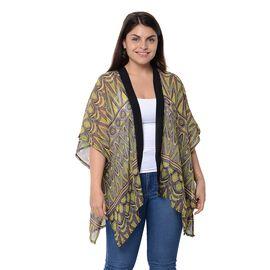 Yellow and Multi Colour Fish Scale Pattern Kimono (Size 85x71 Cm)