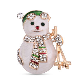 Christmas White and Green Austrian Crystal Snowmen Enamelled Brooch Cum Pendant in Yellow Gold Tone