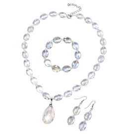 3 Piece Set - Simulated Mercury Mystic Topaz Necklace (Size 21 with 2 inch Extender), Hook Earrings and Bracelet (Size 7) in Silver Plated