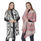 Set of 2 - Soft and Lightweight Ladies Black Zebra and Pink Checkered Print Scarf with Small Fringes