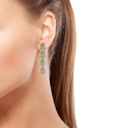 Hebei Peridot (Pear) Falling Drops Earrings (with Push Back) in Yellow Gold and Rhodium Overlay Sterling Silver 5.760 Ct. Silver wt 9.66 Gms.