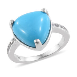 9K White Gold AAA Arizona Sleeping Beauty Turquoise (Trl), Natural Cambodian Zircon Ring 6.250 Ct.