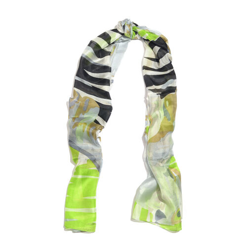 100% Mulberry Silk Green, Black and Multi Colour Handscreen Printed Scarf (Size 175X100 Cm)