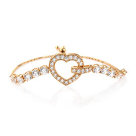 J Francis Made with Swarovski Zirconia Adjustable Heart Bracelet in Gold Plated Sterling Silver 10.5