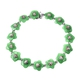 49.80 Ct Carved Green Jade and Multi Sapphire Floral Bracelet in Rhodium Plated Silver 7.75 Inch
