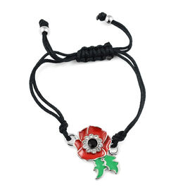 Black Austrian Crystal and Multi Gemstone Adjustable Enamelled Flower Bracelet (Size 6)