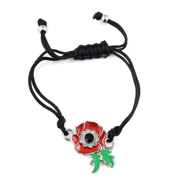 Black Austrian Crystal and Multi Gemstone Adjustable Enamelled Flower Bracelet (Size 6)