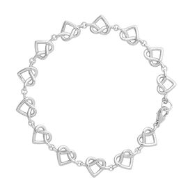 LucyQ Rhodium Overlay Sterling Silver Entwined Heart Bracelet (Size 7.5), Silver wt 8.27 Gms
