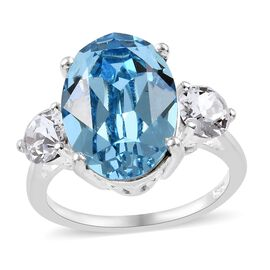 J Francis - Crystal from Swarovski Aquamarine Colour Crystal (Ovl 14x10 mm), White Colour Crystal Ri