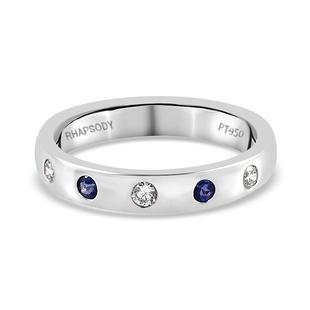 RHAPSODY 950 Platinum AAAA Tanzanite and Diamond (VS/E-F) Band Ring, Platinum wt 5.87 Gms