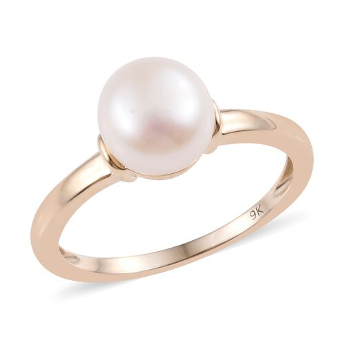 9K Yellow Gold Freshwater Pearl (Rnd 7-8 mm) Solitaire Ring
