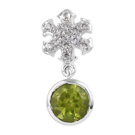 1.25 Ct Hebei Peridot and Zircon Snowflake Pendant in Platinum Plated Sterling Silver