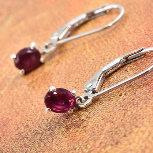 African Ruby Lever Back Earrings in Platinum Plated Silver 1 Carat