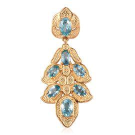 Ratanakiri Blue Zircon Pendant in 14K Gold Overlay Sterling Silver 3.25 Ct.