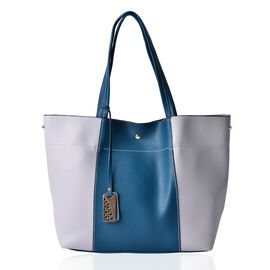 Light Grey and Green Colour Tote Bag (Size 45x30x15 Cm)