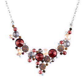 Multi Colour Simulated Diamond (Rnd), Multi Colour Austrian Crystal Necklace (Size 21 and 2 inch Extender)