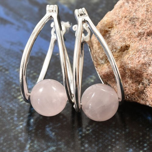One Time Mega Deal-Rose Quartz (8mm) Hoop Earrings (with Clasp Lock) in Sterling Silver 7.500 Ct.