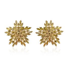 9K Yellow Gold Canary Yellow Diamond (Bgt) (I3) Earrings (with Push Back) 0.750 Ct.
