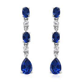 5.75 Ct Minas Gerais Twilight Quartz and Zircon Dangle Earrings in Platinum Plated Silver