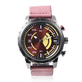STRADA Japanese Movement Water Resistant Watch with Wine Red Colour Strap