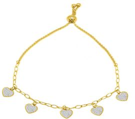 ELANZA Simulated Diamond Heart Charm Bracelet (Size 6-8) in Yellow Gold Overlay Sterling Silver