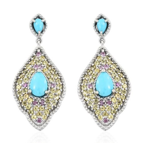 Arizona Sleeping Beauty Turquoise (Pear), Multi Sapphire Drop Earrings (with Push Back) in Platinum Overlay Sterling Silver 4.250 Ct. Number of Gemstone 104 Silver wt 7.69 Gms.