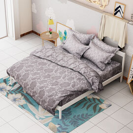 Limited Available- 3 Piece Set - Floral Pattern Jacquard Quilt (Size 240x260 Cm) and Two Pillow Cove