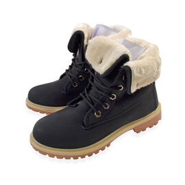 Women's Flat Fur Lined Grip Sole Winter Army Combat Ankle Boots - Black
