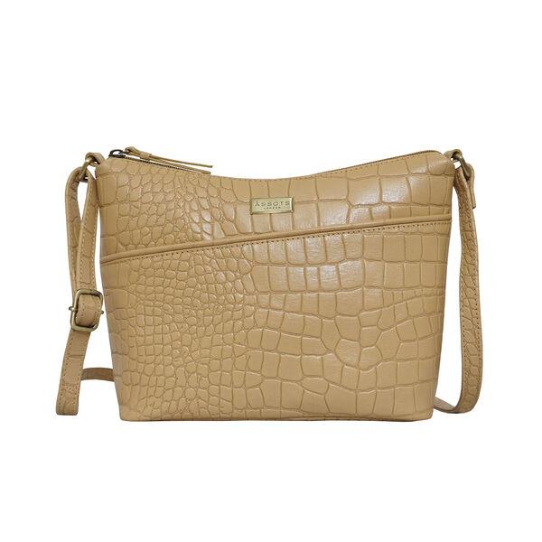Assots London CAROL Croc Embossed Leather Crossbody Bag with Adjustable Shoulder Strap (Size 29x21x9